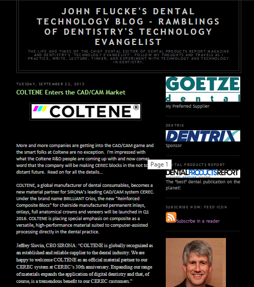 JOHN FLUCKE'S DENTAL TECHNOLOGY BLOG - RAMBLINGS OF DENTISTRY'S TECHNOLOGY EVANGELIST
